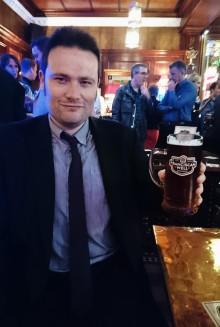 Keith Burch enjoying a pint of Rebel Red.